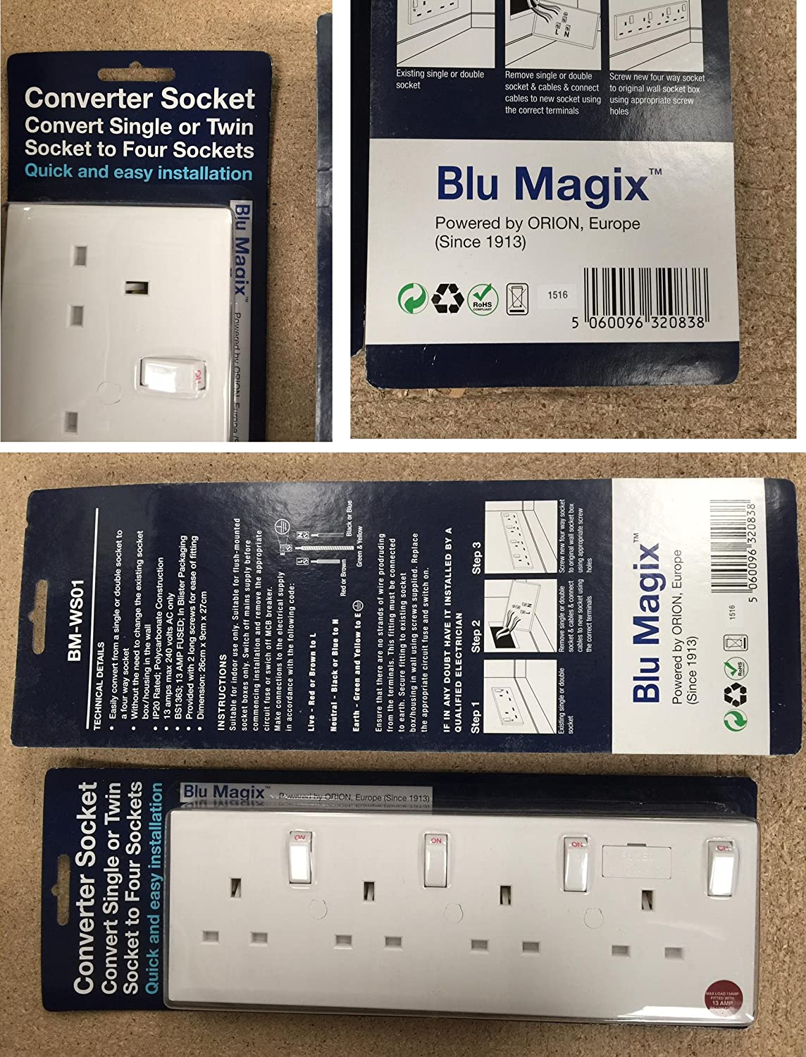 Blumagix Converter Socket Converts Single Or Twin To Four One Gang Two Way Light Switch Sockets Diy Tools