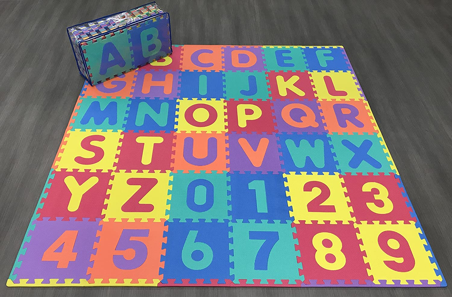 Ottomanson Alphabet Numbers Multipurpose Interlocking Puzzly Play Mats 36 Square Feet Multicolor