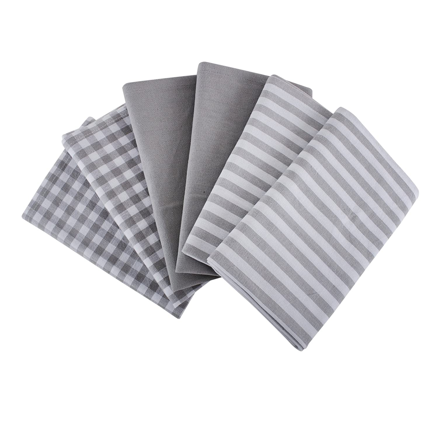 Cotton Kitchen Towels With Super Absorbent, Set Of 6 (18 X 28 Inches) 2 Pieces Grey & White Stripe,2 Pieces Grey & White Check And 2 Pieces Solid