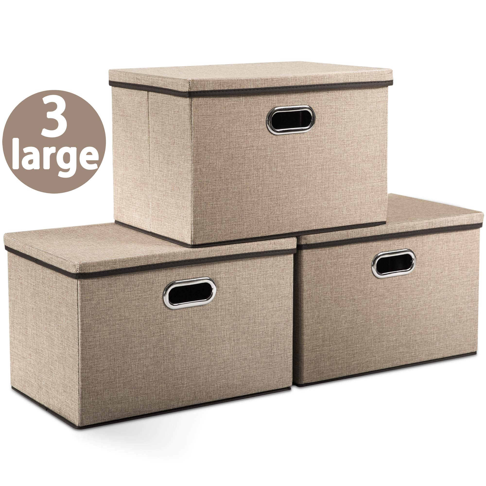 Prandom Large Foldable Storage Boxes with Lids [3-Pack] Jute Fabric Collapsible Storage Bins Organizer Containers Baskets Cube with Cover for Home Bedroom Closet Office Nursery (17.7x11.8x11.8) by Prandom