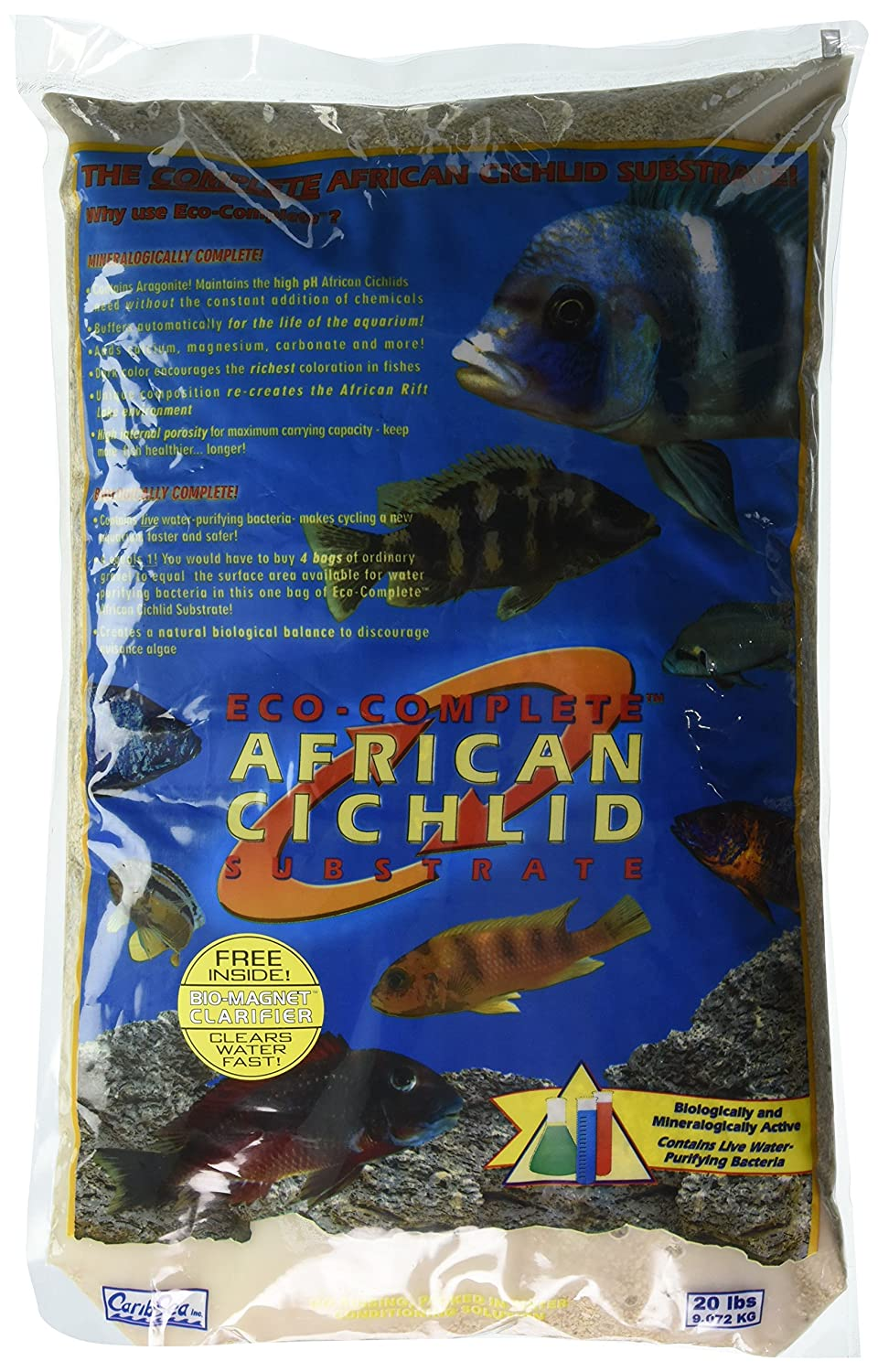 Carib Sea Eco-Complete African Cichlid for Aquarium, 20 lb, White