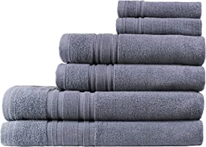 Melange Home 194988 6 Piece Bath Sheet Set, Grey