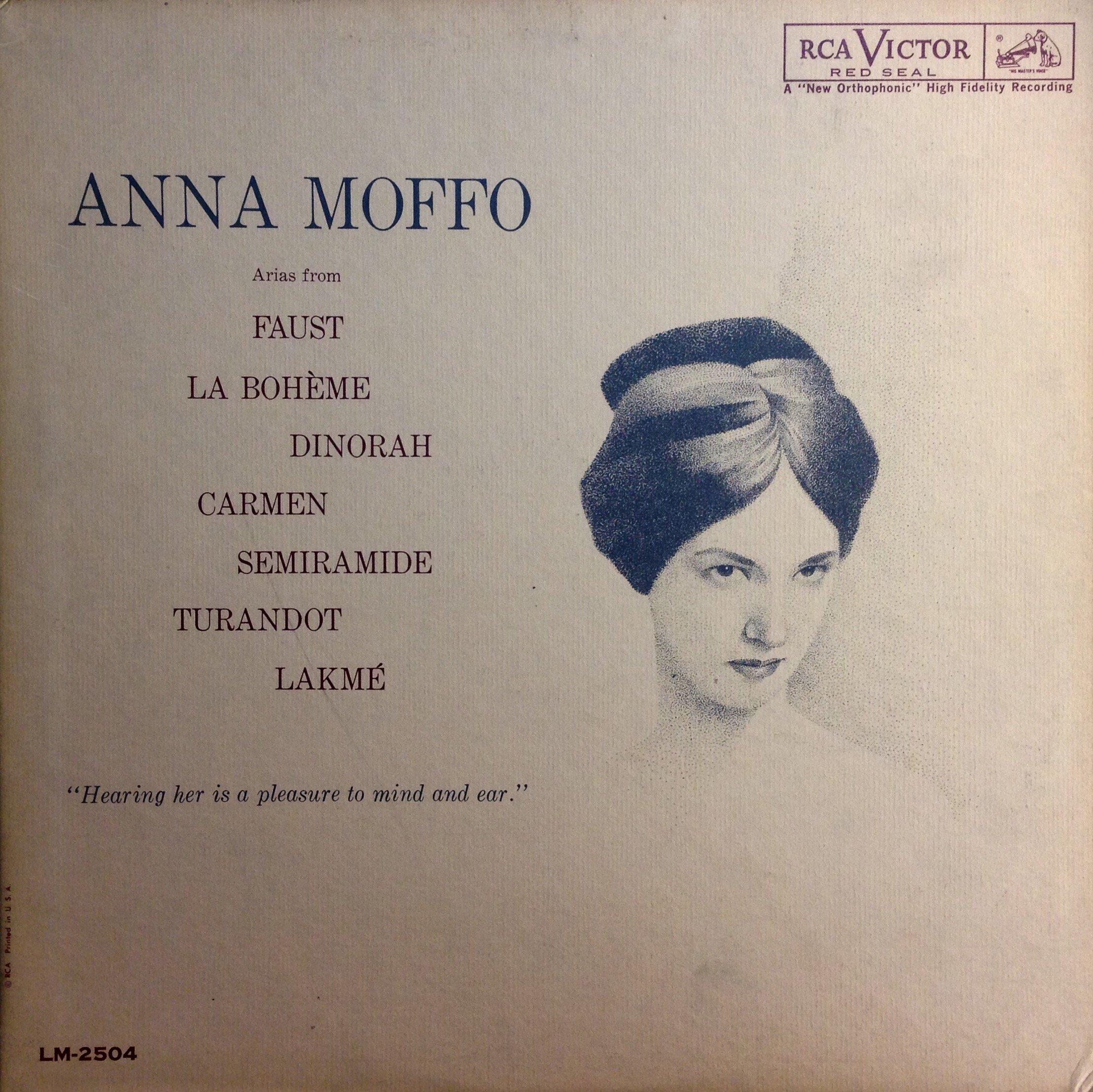 Anna Moffo: Arias From Faust, La Boheme, Dinorah, Carmen, Semiramide, Turnadot, Lakme (Living Stereo) by RCA Victor LSC-2504 Stereo