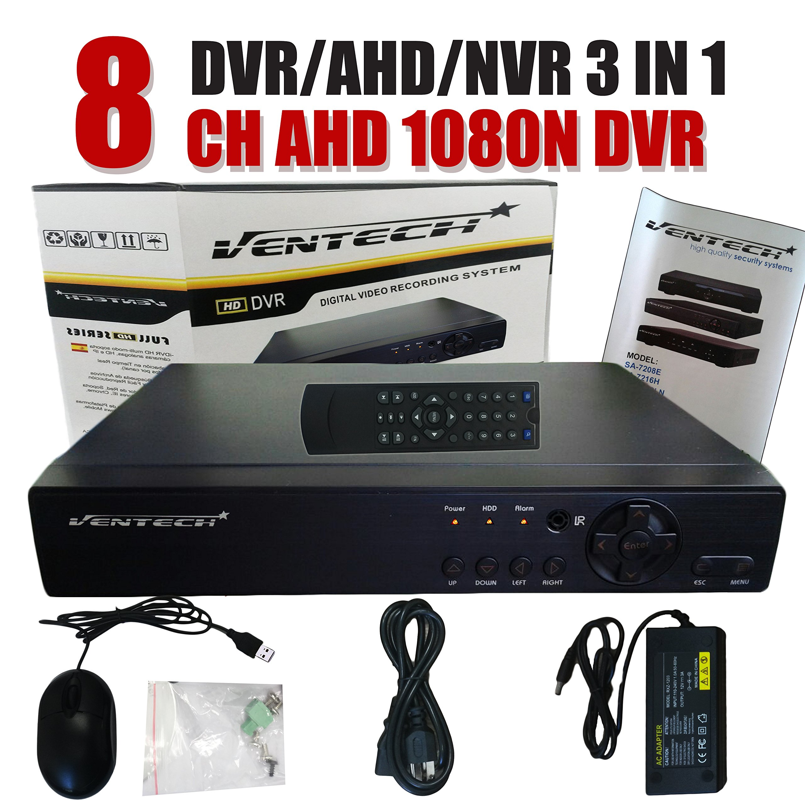 VENTECH DVR 8 Channel 1080n 3 in 1 Hybrid Surveillance recorder Security Systems HDMI Output QR Code Set Up Push Alerts on Cell Phones & Free App P2P (NO Hard Drive Included) p2p 720P 960P 1080P