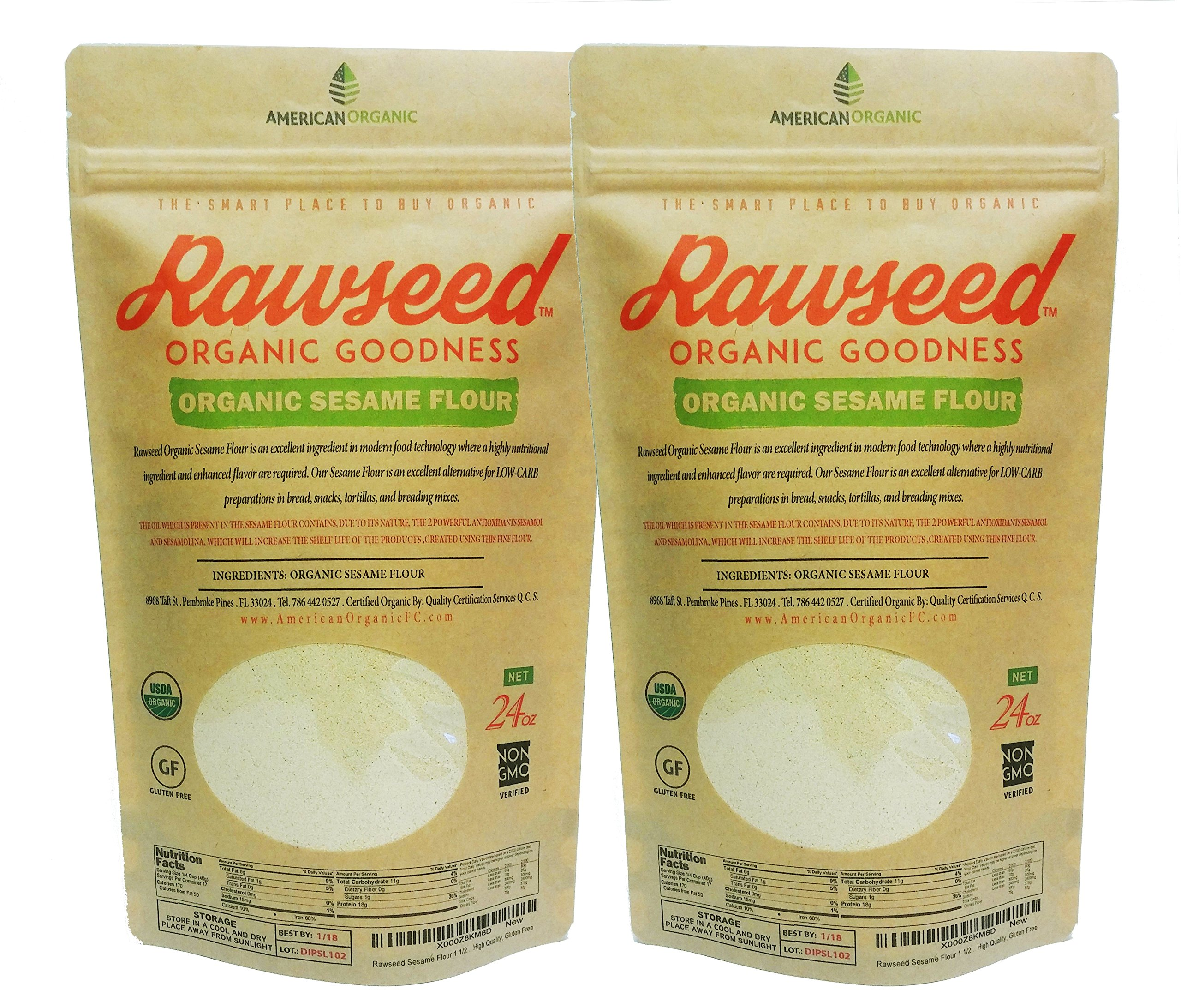 Rawseed Sesame Flour 3 lbs 2 Pack (24 oz) Organic Certifed Natural 100%, Gluten Free by Rawseed Organic Goodness