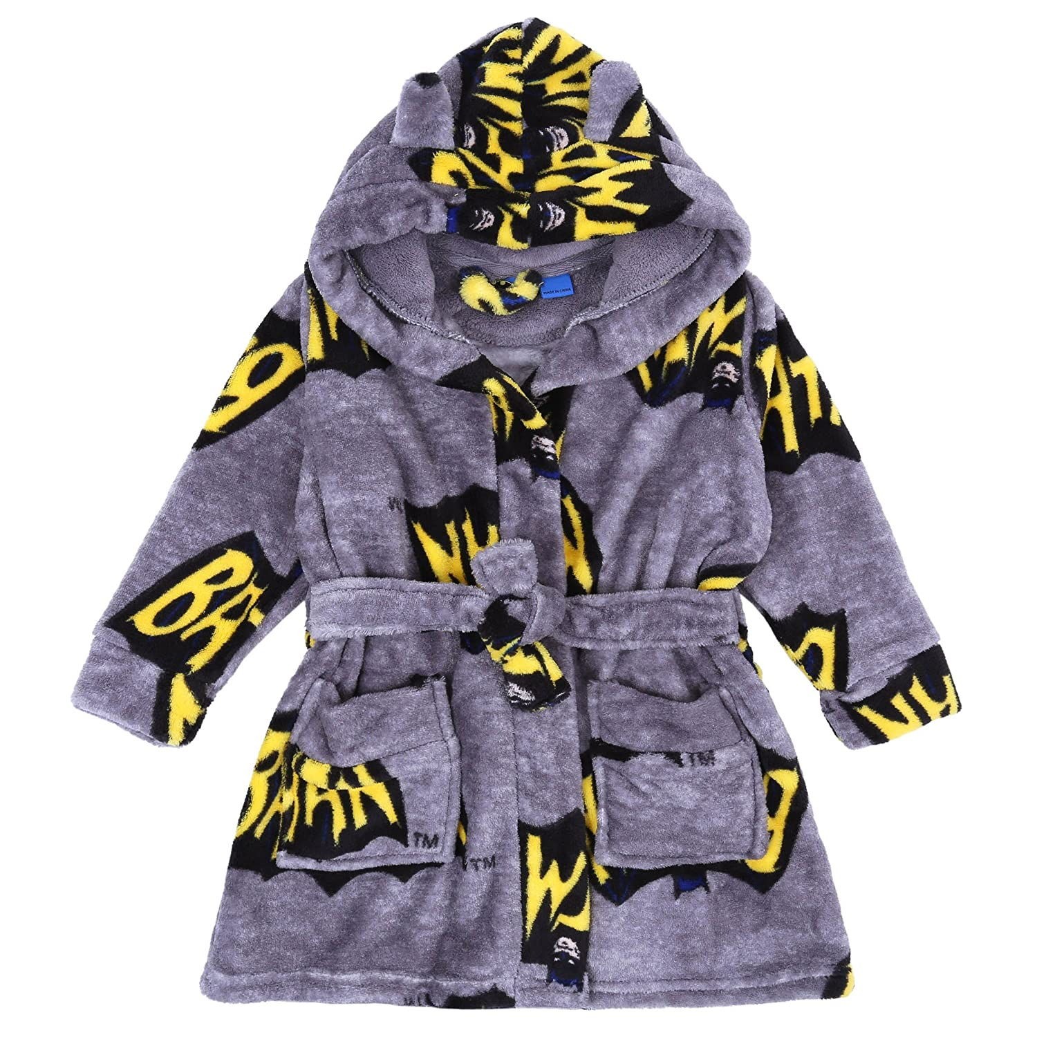 Batman -:- DC COMICS Soft Fleece Grey, Hooded Dressing Gown, Bathrobe For Boys