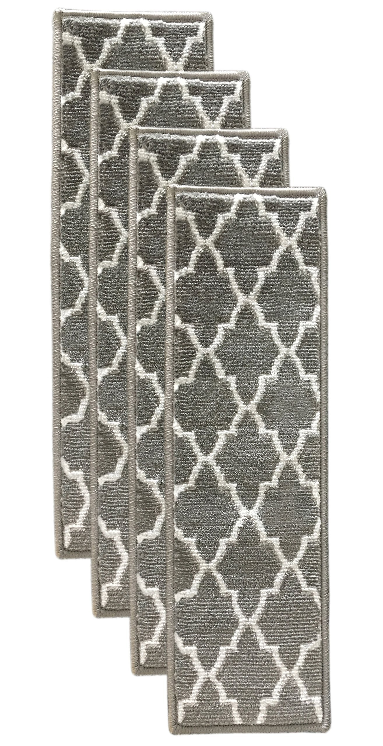 Sultansville Trellisville Collection Trellis Design Vibrant and Soft Stair Treads, Grey, Pack of 4