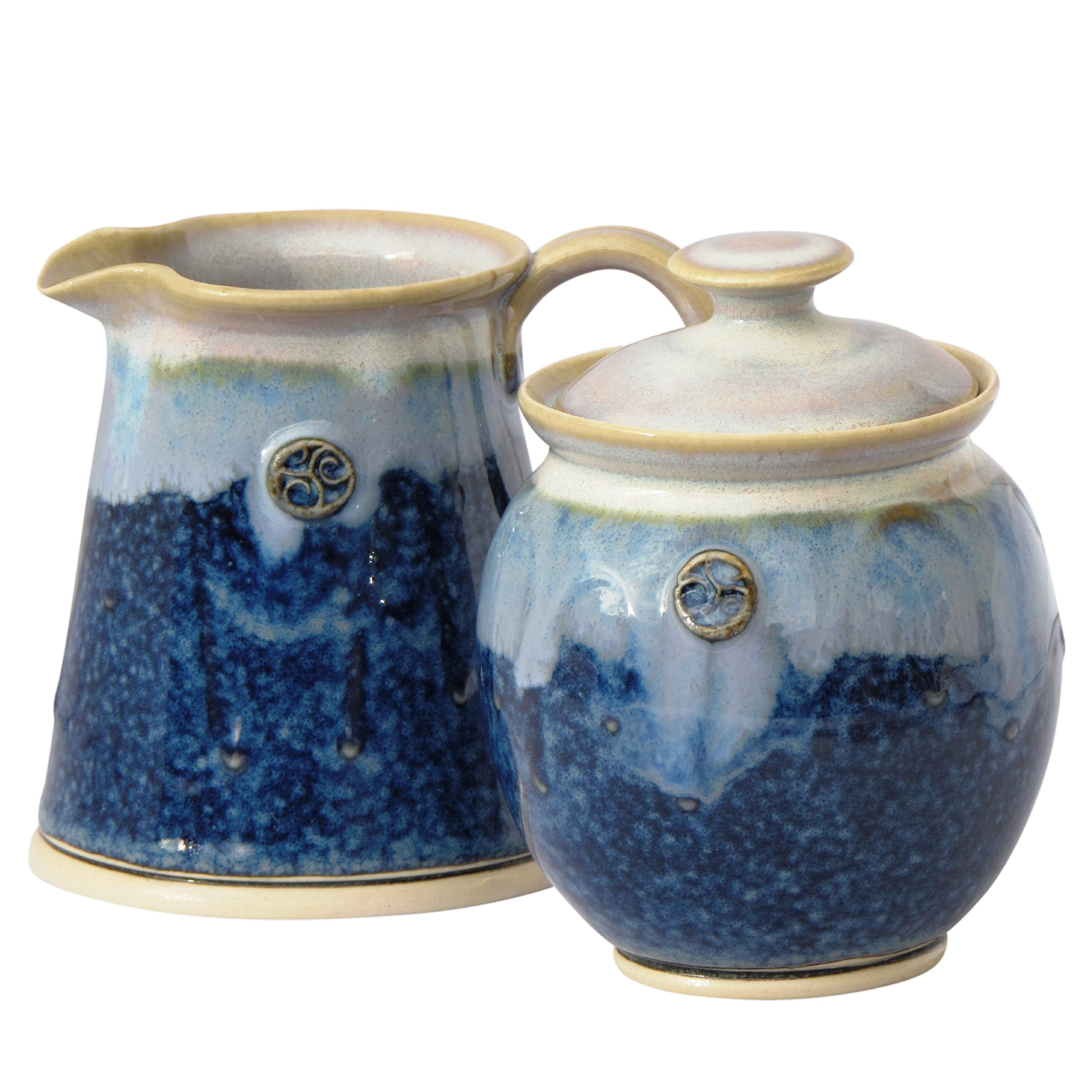 Sugar Bowl and Creamer Set. Handmade Lead Free Glazed Irish Pottery