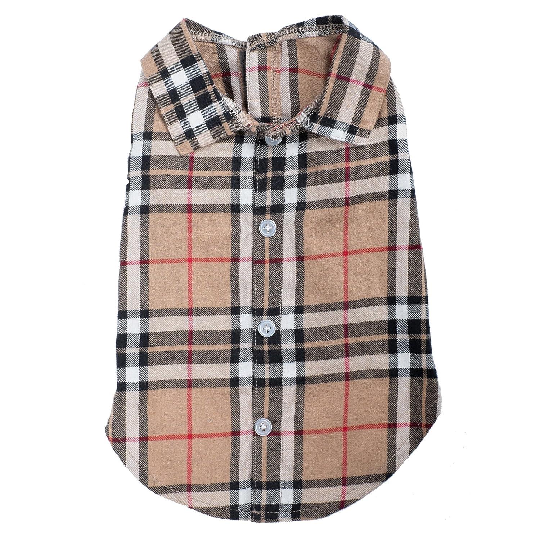 Tan Plaid Shirt, Tan, L