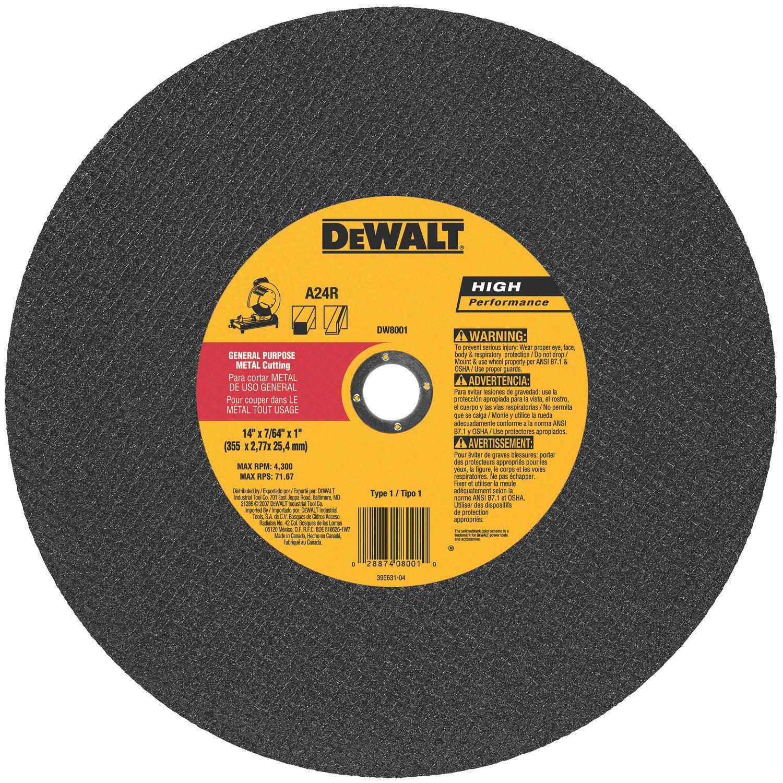 DEWALT DW8001 General Purpose Chop Saw Wheel, 14-Inch X 7/64-Inch X 1-Inch