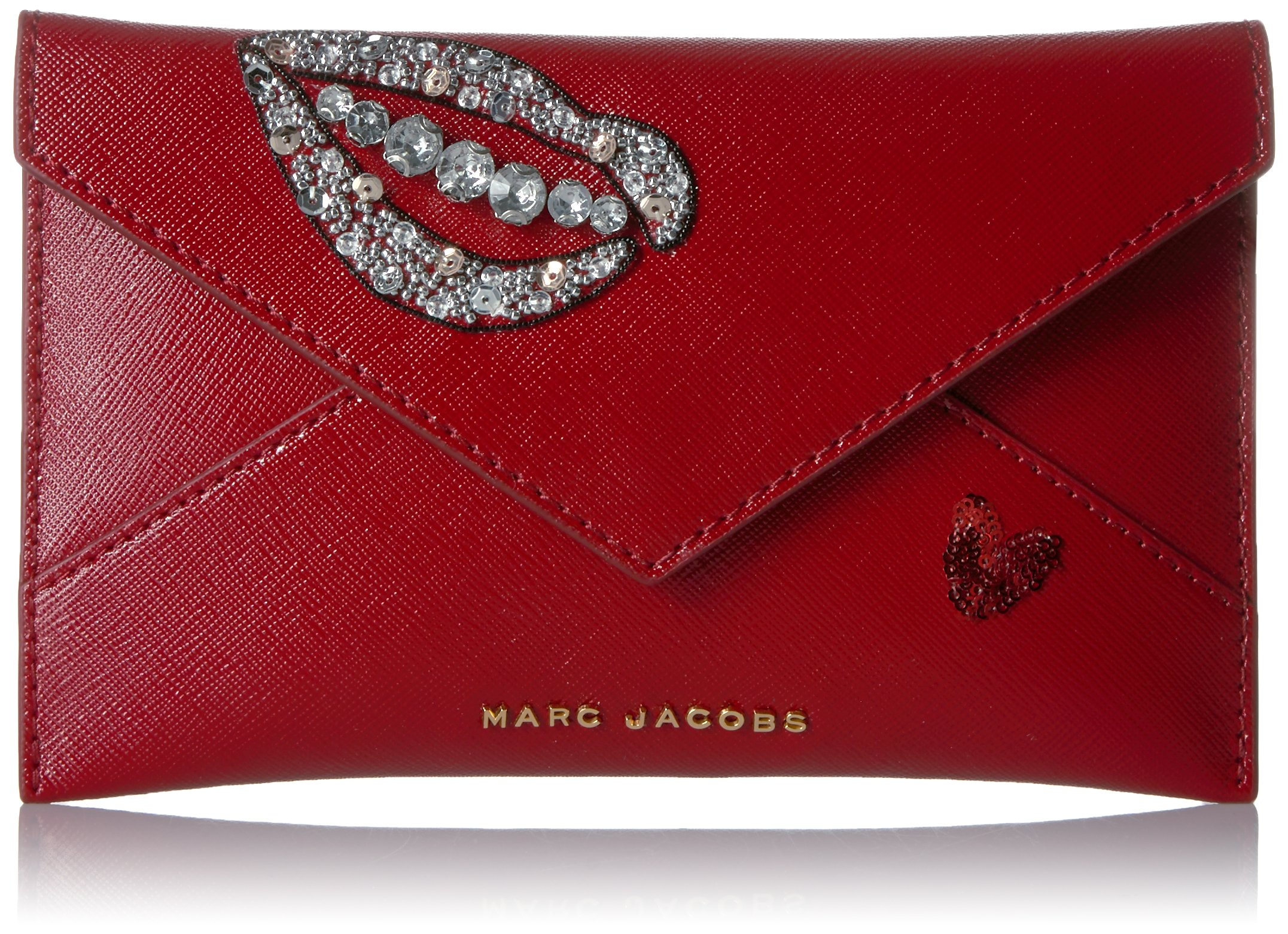 Sequin Hand To Heart Envelope Credit Card Holder, BISOU RED, One Size