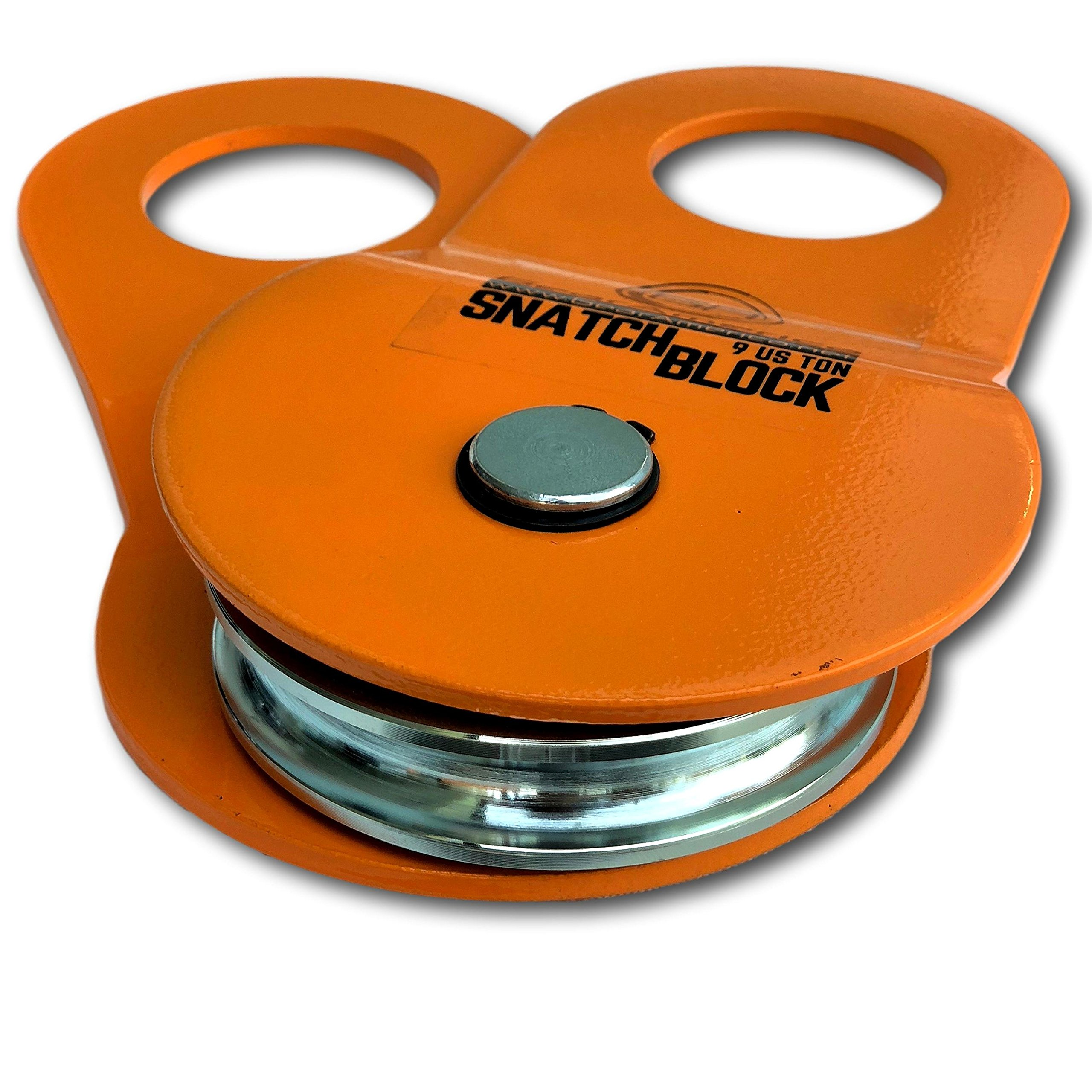 GearAmerica Snatch Block (9 US Ton) | Double Your Winch Capacity and Control Direction of Pull | Recover Stuck Vehicles with Ease | Heavy Duty Pulley System | Use with Shackles and Tree Saver Straps