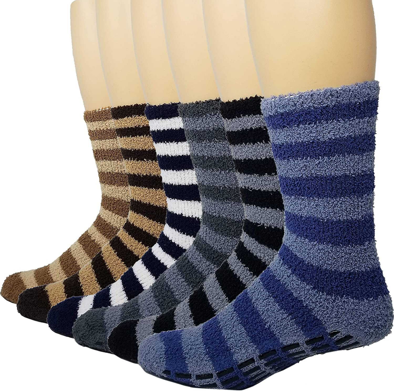 6 Pairs Mens Fuzzy Gripper Socks Microfiber Plush Sleeping Socks Soft Anti-Slip Debra Weitzner