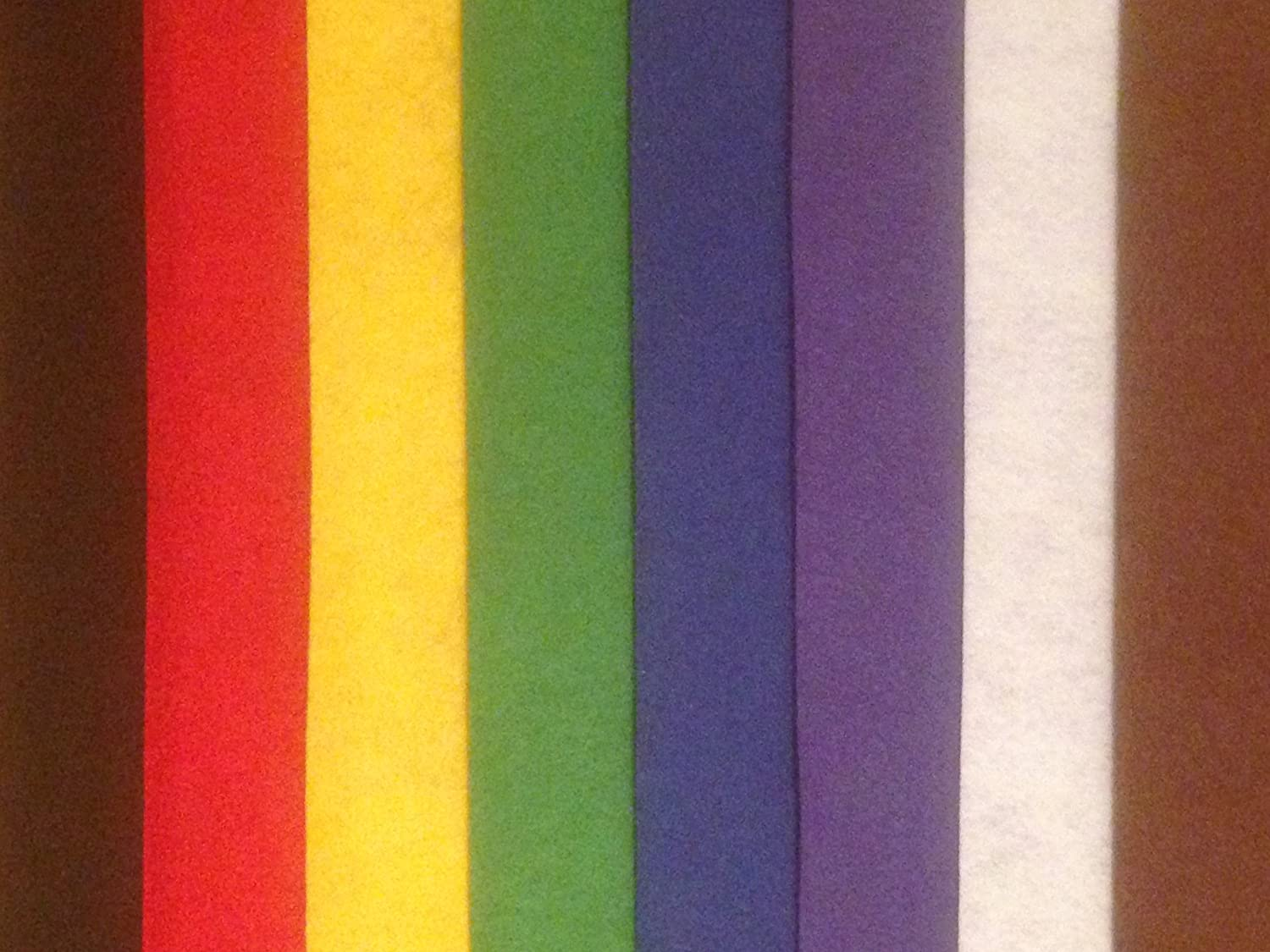 16 x A4 Felt Sheets 2 of each Red, Yellow, Green, Blue, Purple, Black, Brown and White, Supplied By Kids B Crafty .
