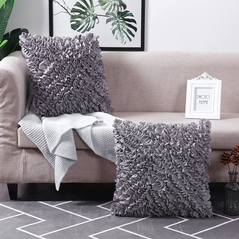 "MoMA Decorative Throw Pillow Covers (Set of 2) - Pillow Cover Sham Cover - Dark Grey Throw Pillow cover - Decorative Sofa Throw Pillow Cover - Square Decorative Pillowcase - Grey - 18"" x 18"""