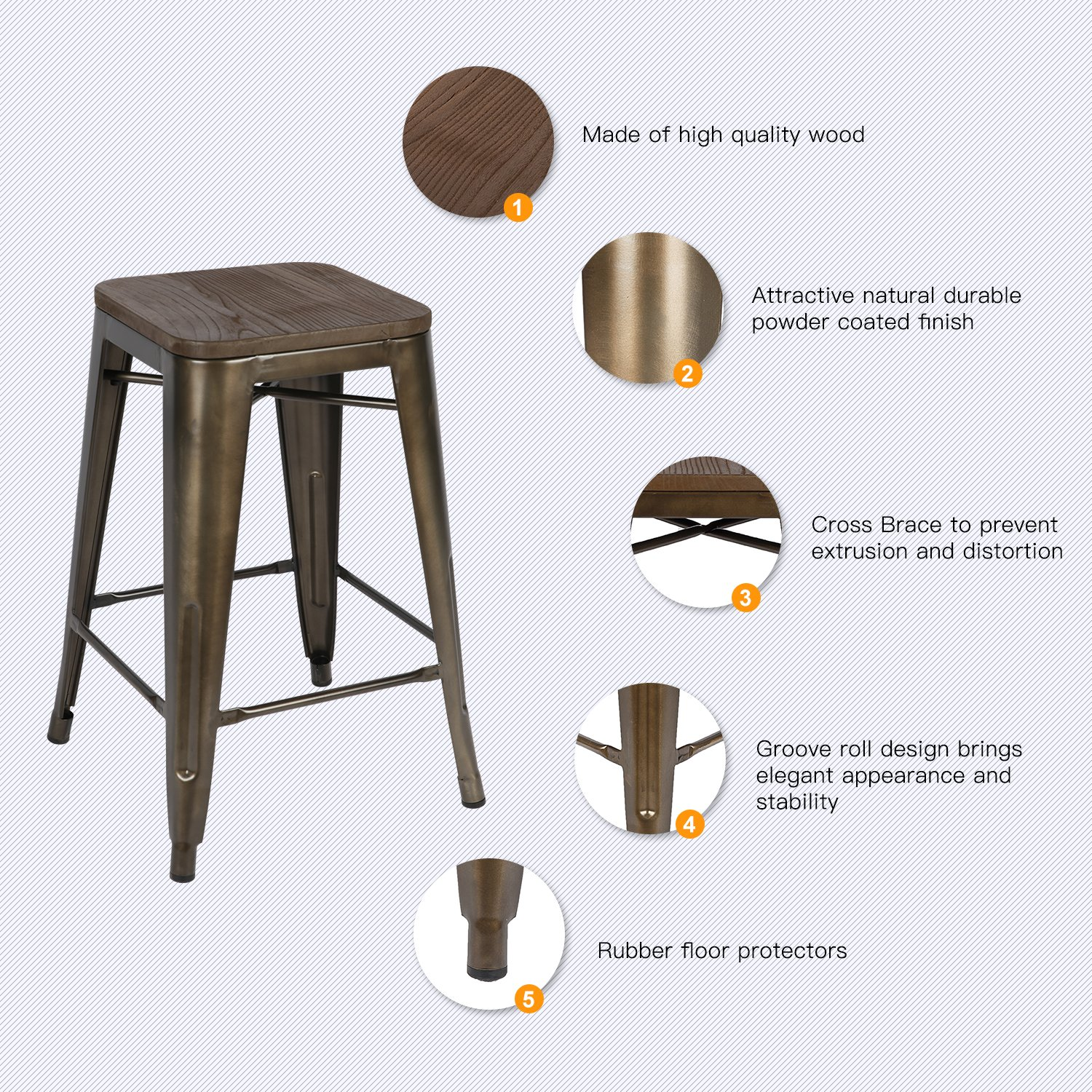 LCH 24 Inch Patio Metal Industrial Bar Stools, Set of 4 Indoor/Outdoor Counter Stackable Barstool with Wood Seat, 500 LB Limit, Antique Copper by LCH (Image #2)