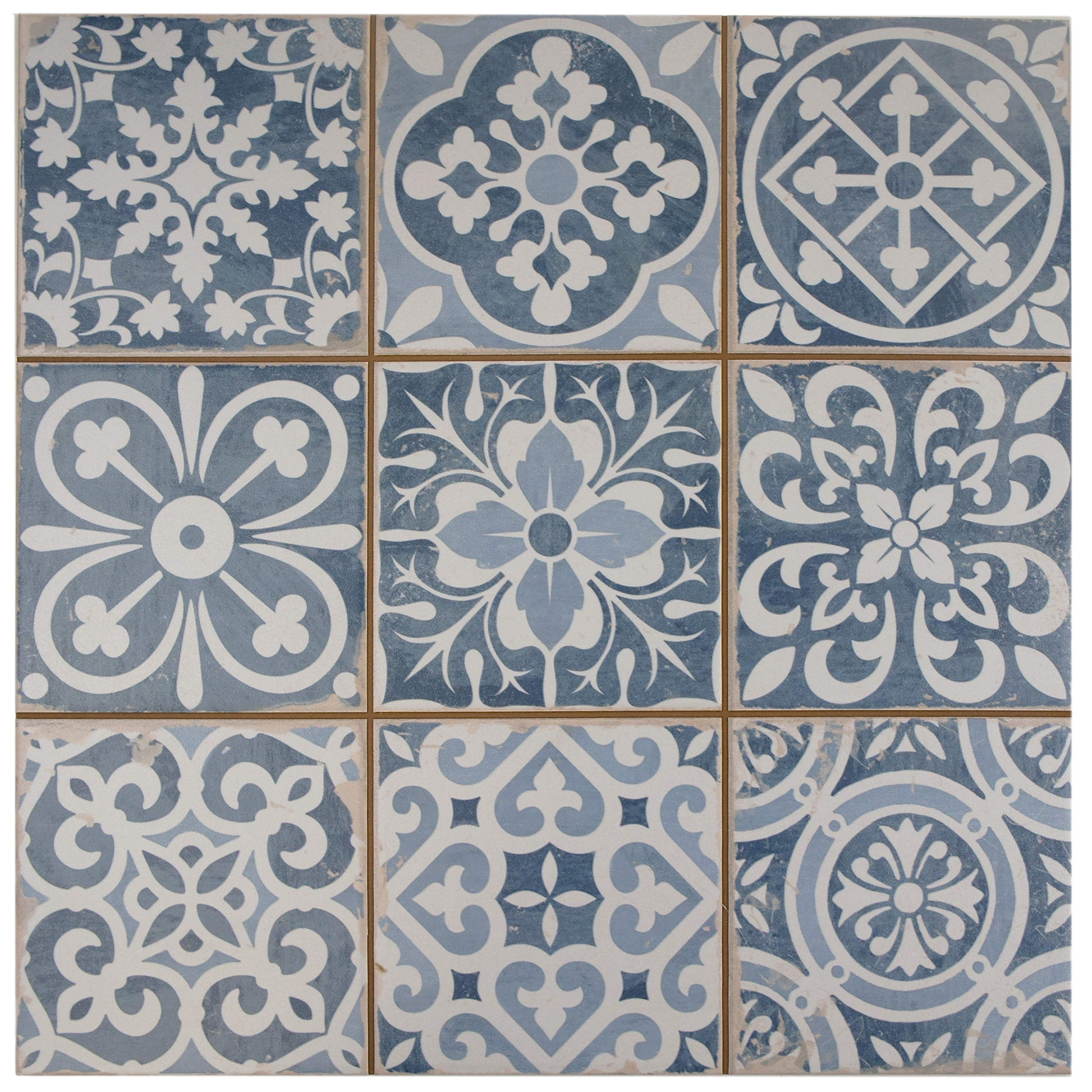 SomerTile FPEFAEA Romania Ceramic Floor and Wall Tile, 13'' x 13'', Blue