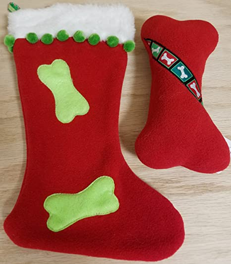 up country christmas large squeaker bone toy with christmas stocking - Country Christmas Stockings