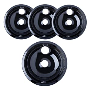 "Porcelain Drip Pans (3) 6"" WB31M20, (1) 8"" WB31M19 Replacement for Range Kleen/GE P119204XZ Style B Black"