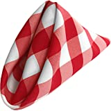 LA Linen 10-Pack Checkered Napkins, 18 by 18-Inch, Red