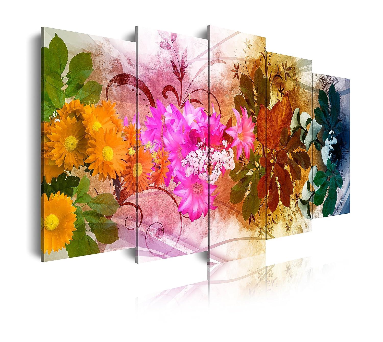 Dekoarte 433 - Quadro moderno su tela montato su telaio in legno di 5 pezzi, stile floreale quattro stagioni, 150x80cm 0433