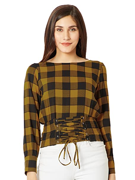 80d2cafe294 Miss Chase Women s Mustard Yellow and Black Checkered  Top(MCAW18TP11-50-164-. Roll over image to zoom in
