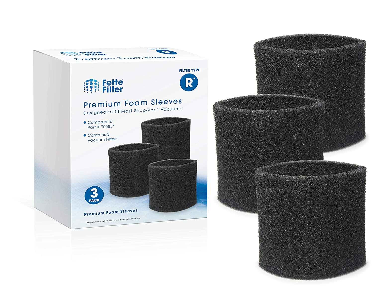 Fette Filter - Foam Sleeve Filters for 5+ Gallons Vacs Compatible with Shop-Vac 90585 & 9058500 Compatible with Most Vacmaster & Genie Shop Vacuum Cleaners Filter Type R. (Pack of 3)