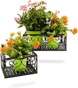 Metal Hanging Planters for Outdoor Deck, Railing, Patio (Black, 2 Sizes, 2 Pack)