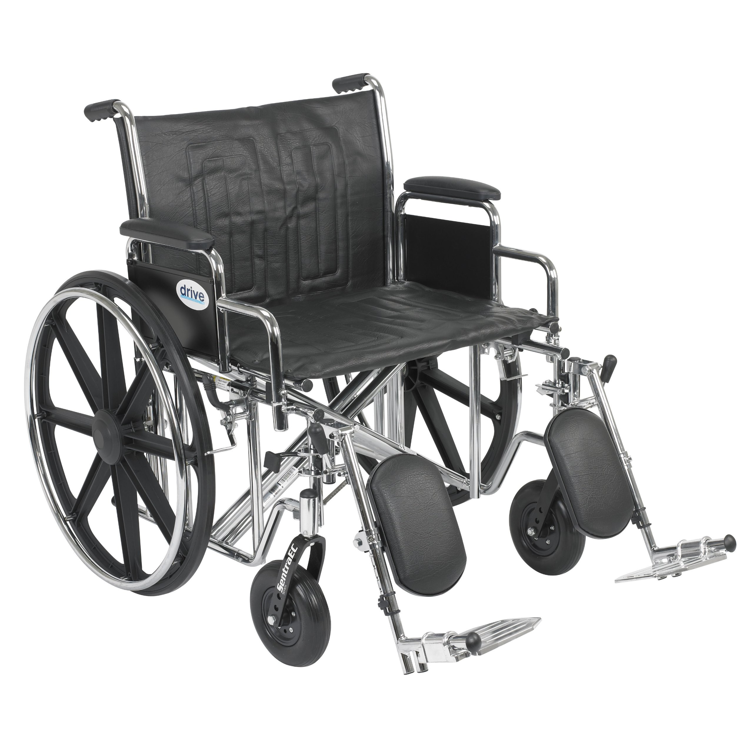Drive Medical Sentra EC Heavy Duty Wheelchair with Various Arm Styles and Front Rigging Options, Black, Bariatric, 24 Inch by Drive Medical