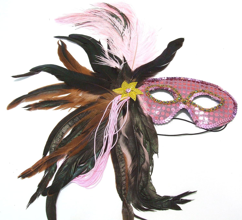 Amazon Com Pretty In Pink Sequin Feather Mask Mardi Gras Halloween