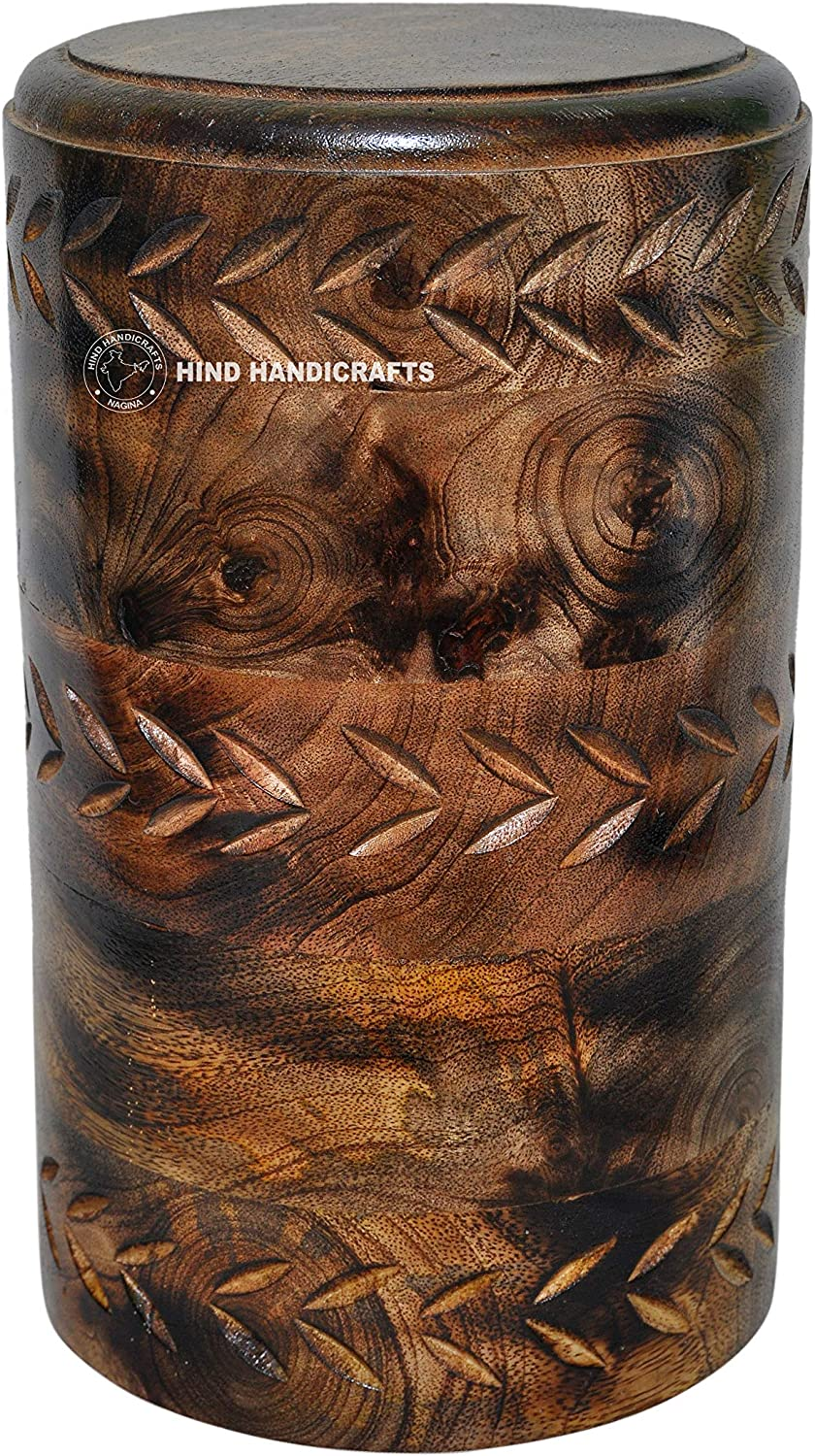 Hind Handicrafts Round Wooden Engraved Urns for Human Ashes Adult - Wooden Box Rosewood Cremation Urns for Ashes - Burial Urns - Funeral Urns Large (11.5 x 6.5 x 6.5 Inches, Antique 1)