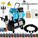 Iwata-Medea Eclipse HP CS Airbrush Set with Cool Runner II Dual Fan Air Tank Compressor System Kit, 12 Color Acrylic Airbrush Paint Artist Set, Hose, Holder, Cleaning Pot, Mixing Cups, How-to Guide