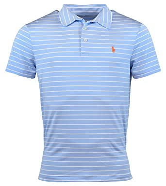 5b5fe2201 Polo Ralph Lauren Mens Performance Striped Polo Shirt - S - Austin Blue