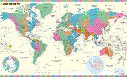 Amazon.com : World Time Zone Map (48