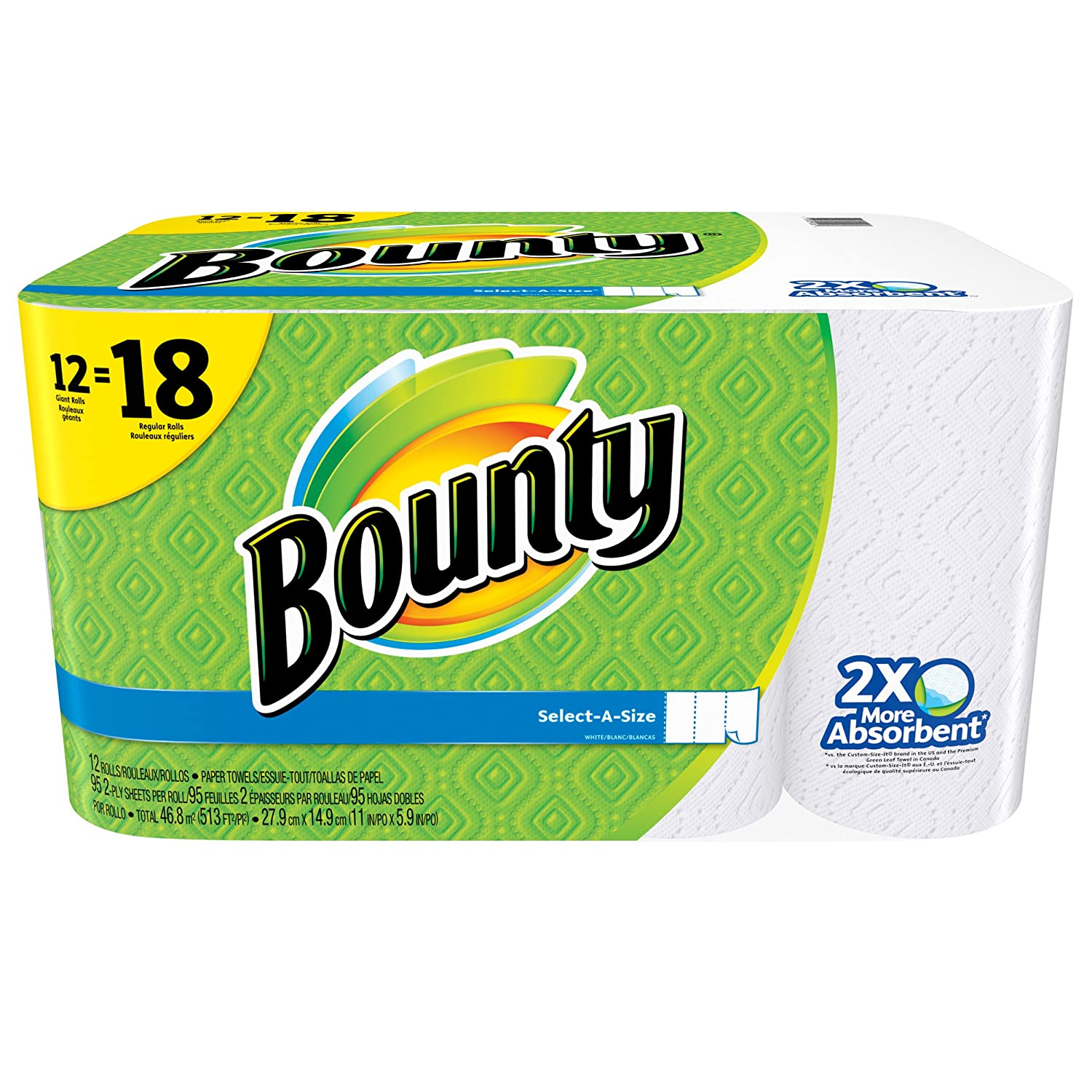 Amazon.com: Bounty Select-A-Size Paper Towels, White, Giant Roll - 12 pk: Health & Personal Care