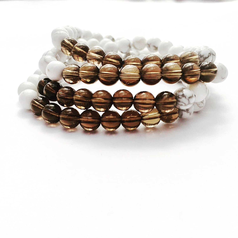 Amazon.com: Smoky Quartz White Howlite Yoga Mala Bracelet ...