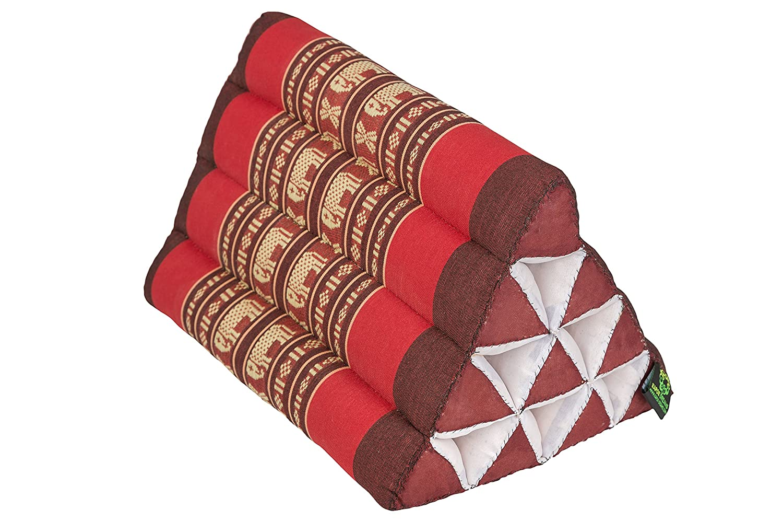 Triangle Pillow 13x8 (medium size), 100% Kapok-Stuffing, Red Elephants. Kapok Dreams B010-tf-er