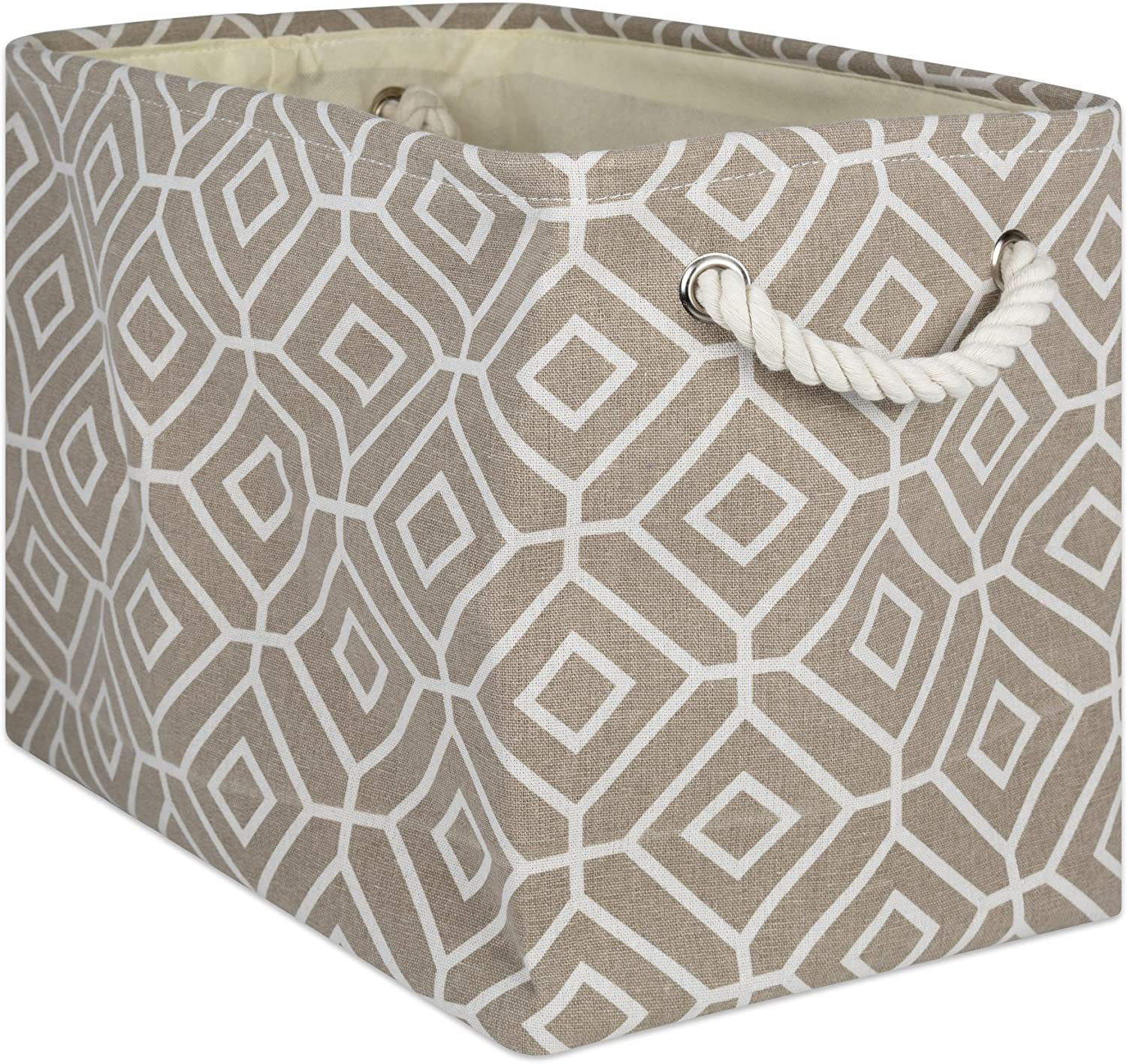 DII CAMZ10010Collapsible Polyester Storage Basket or Bin with Durable Cotton Handles, Home Organizer Solution for Office, Bedroom Closet, Toys, Laundry, Rectangle, Stone