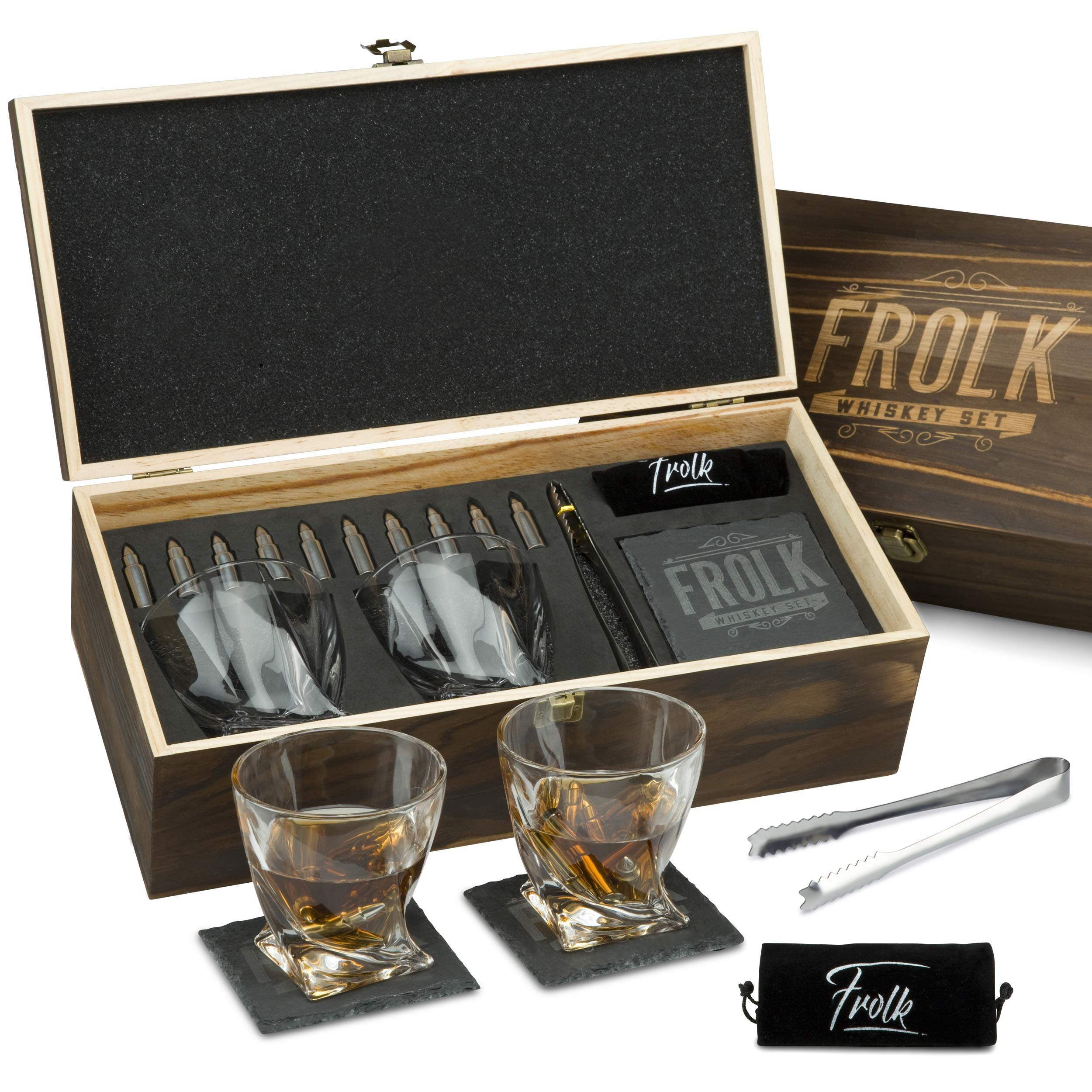 Premium Bullet Sharped Whiskey Stones Gift Set for Men - 10 Bullets Chilling Stainless-Steel Whiskey Rocks - 11 oz 2 Large Twisted Whiskey Glasses, Slate Coasters, Tongs - Luxury Set in Pine Wood Box by Frolk