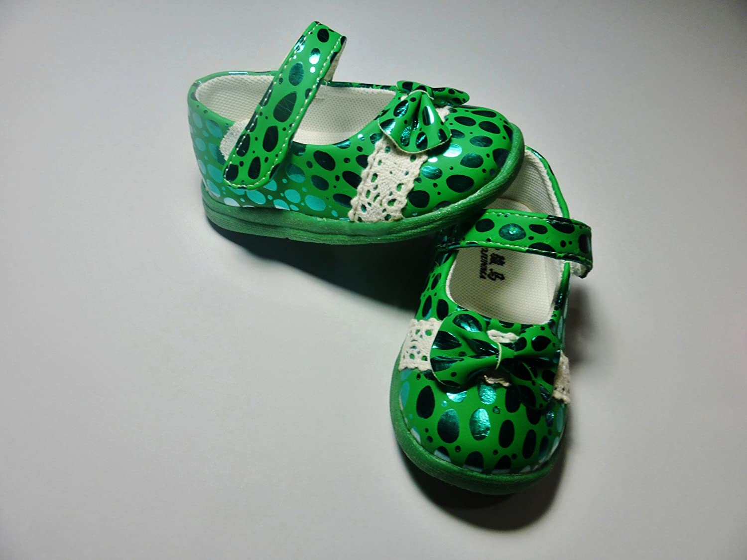 Green Dress Shoes with Sparkling Dots 4.25 Soles