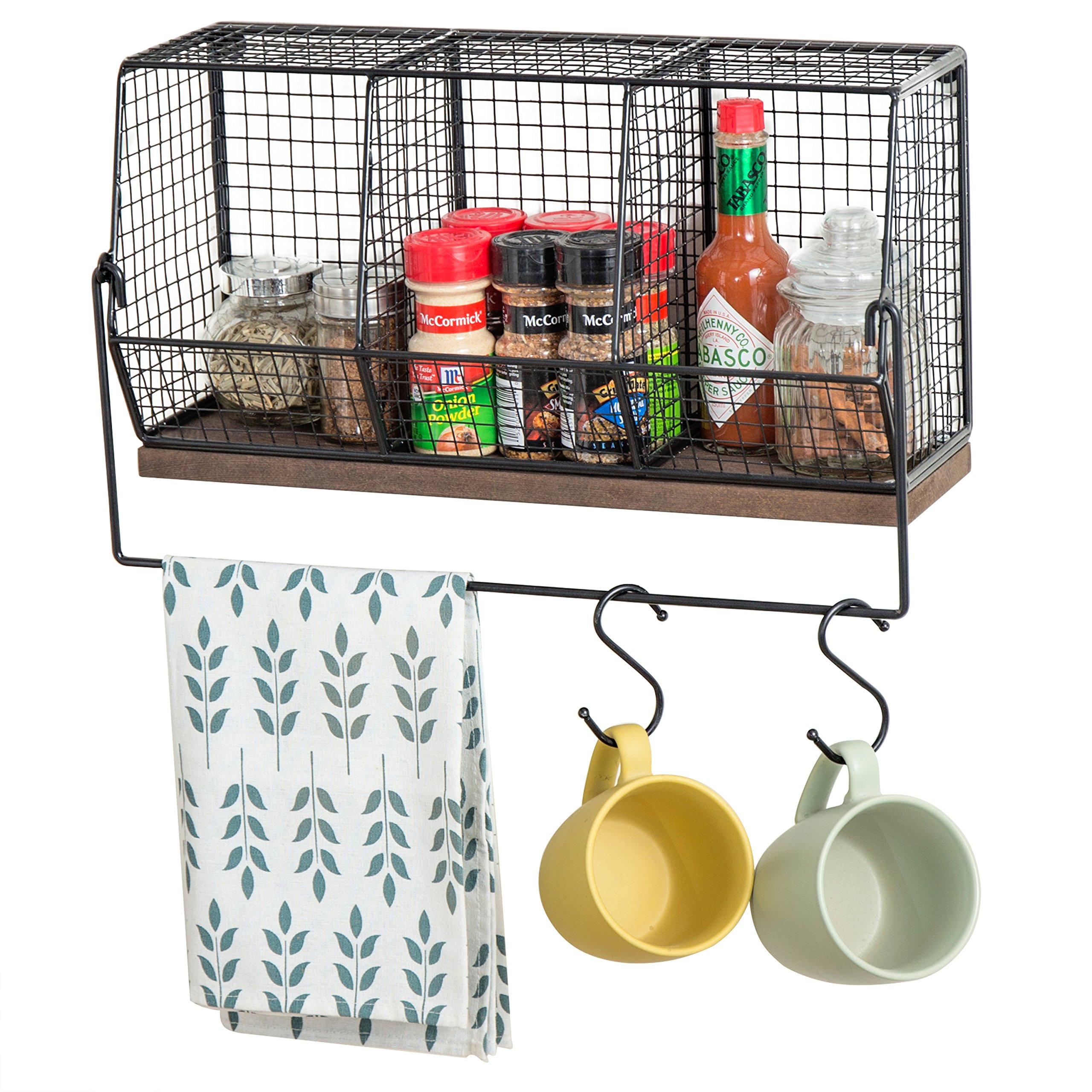 MyGift Chicken Wire Wall-Mounted Spice Rack with Towel Bar & 4 S-Hooks
