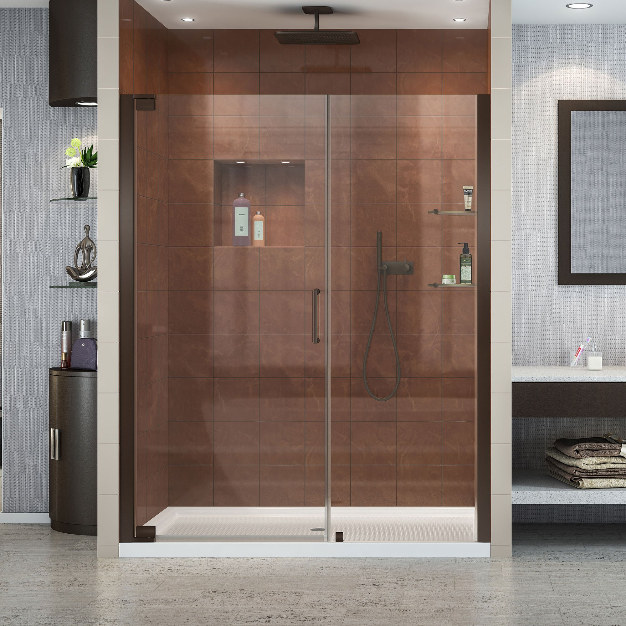 DreamLine Elegance 58-60 in. Width, Frameless Pivot Shower Door, 3/8'' Glass, Oil Rubbed Bronze Finish by DreamLine