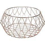 MyGift Rose-Gold Geometric Metal Wire Countertop Fruit Basket Produce Storage Organizer Bin