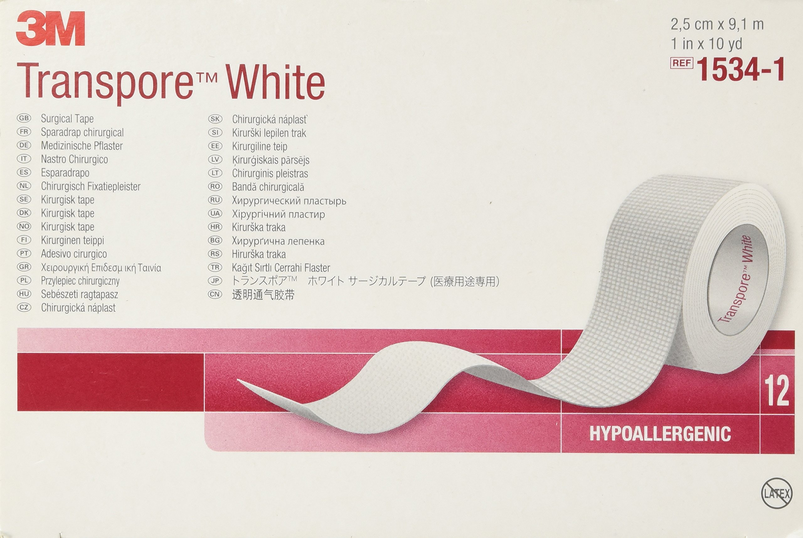 3M 1534-1 Transpore White Tape, 12 Rolls