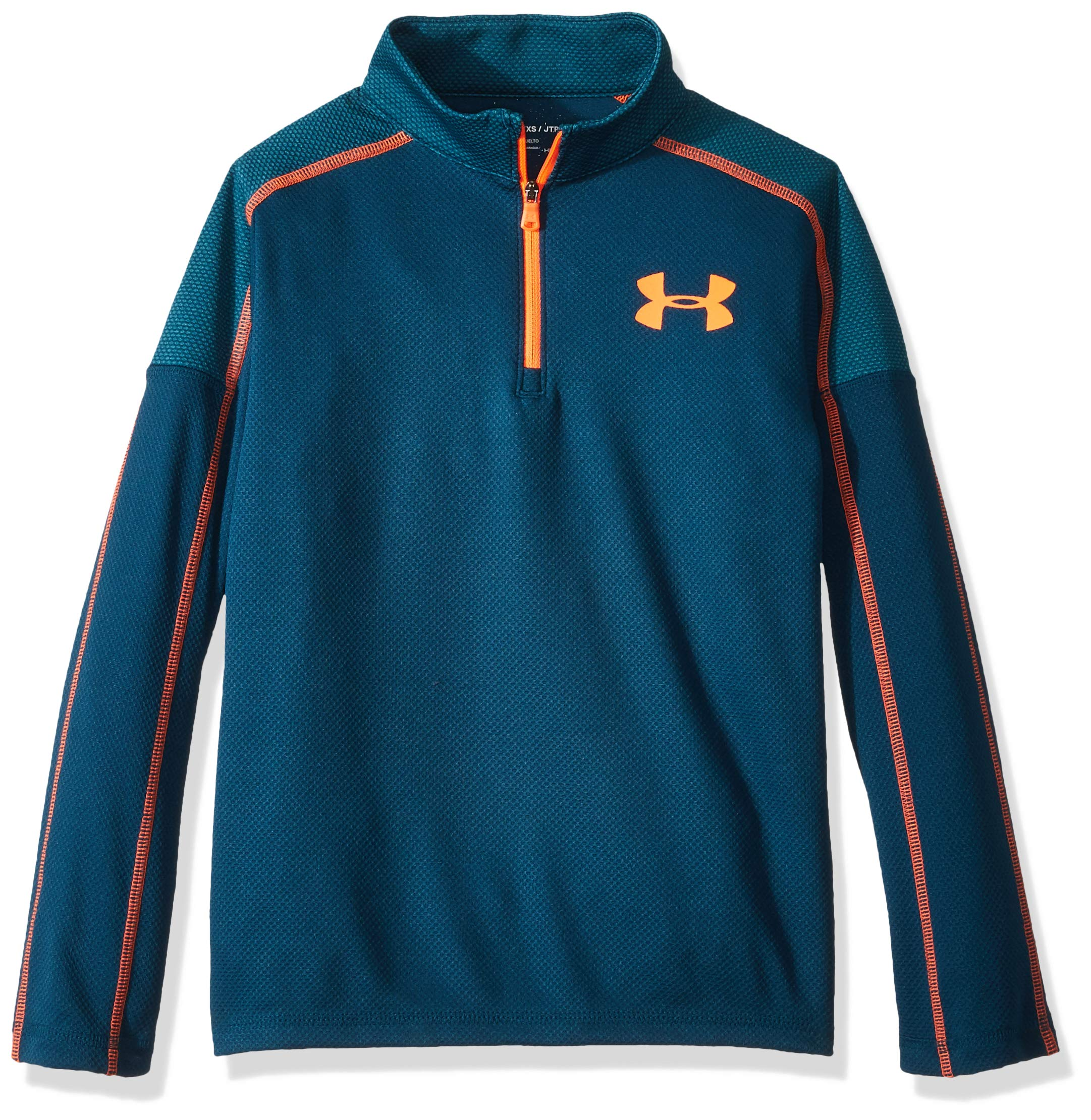 Under Armour Boys Tech 1/2 Zip, Techno Teal (489)/Magma Orange, Youth Small by Under Armour