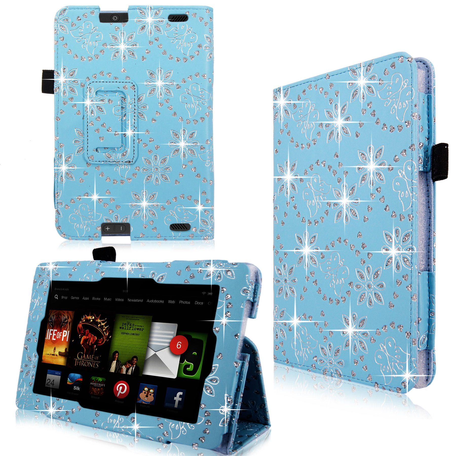 Cellularvilla Case for Amazon Kindle Fire HD 7'' 7 Inch 2013 Edition Baby Blue Glitter Pu Leather Flip Folio Stand Case Cover + Stylus Touch Pen