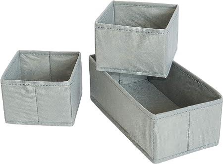 Caja plegable de plástico para cajones y armarios, 4 unidades, con 8 cajones, color gris, gris, Set de 3: Amazon.es: Bricolaje y herramientas