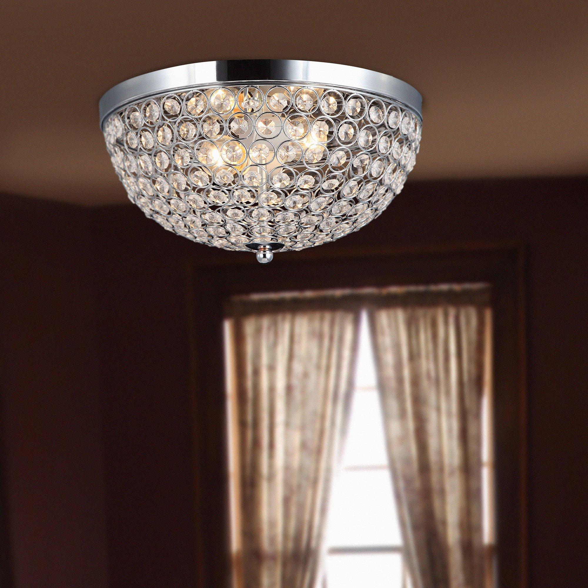 Elegant Designs FM1000-CHR Elipse Crystal 2 Light Ceiling Flush Mount, Chrome by Elegant Designs (Image #2)