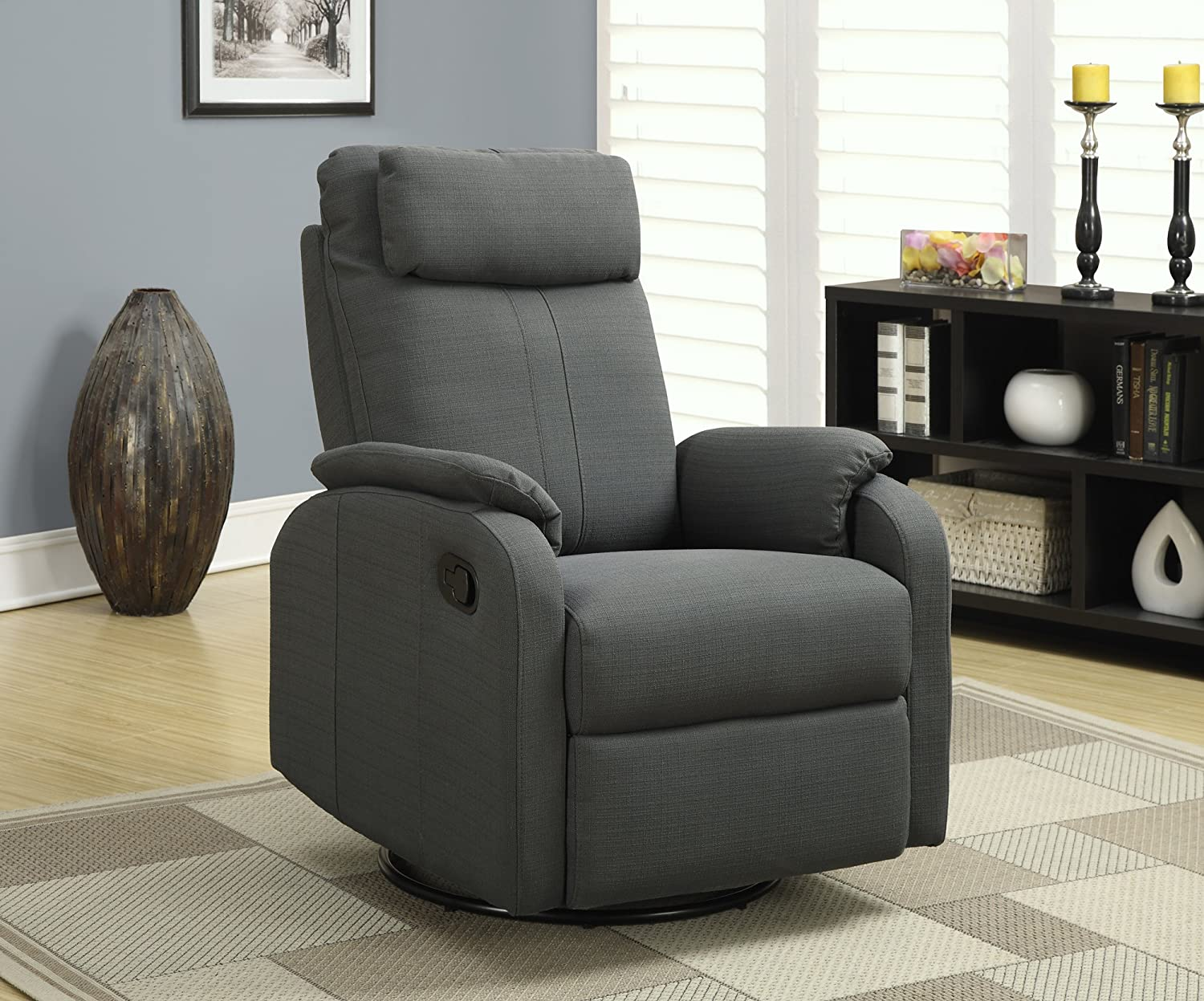 Amazoncom Monarch Specialties Charcoal Grey Linen Fabric Swivel - Reclining swivel chair