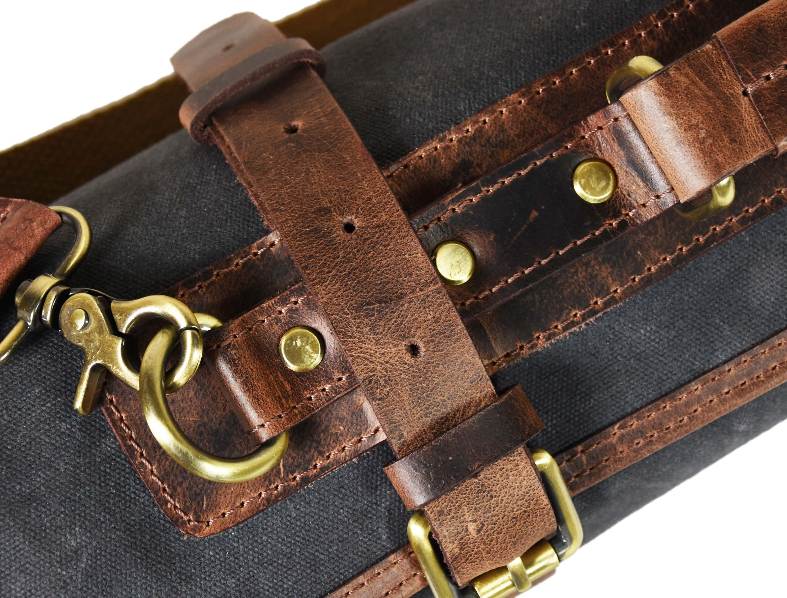 Leather Knife Roll Chef Roll Storage Bag Aaron Leather (Fossil Grey) by Aaron Leather (Image #6)